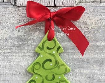 Personalized Christmas tree ornament, Ceramic tree ornament, hand painted ornament, personalized ornament, Christmas tree ornament