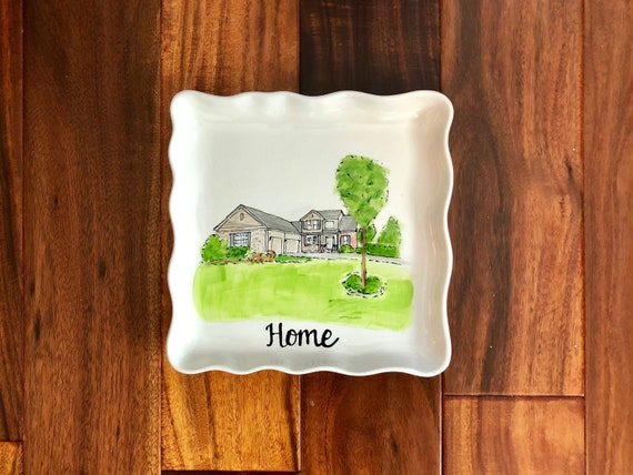 Hand painted, personalized, illustrated Home plate, custom house plate, new home gift, realtor closing gift, square scallop plate
