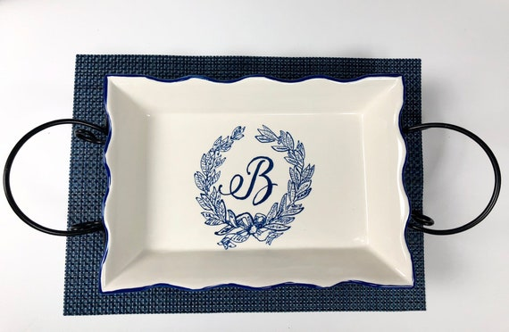 Hand painted, monogram platter, wedding gift platter, ceramic monogram platter with iron stand, blue monogram platter