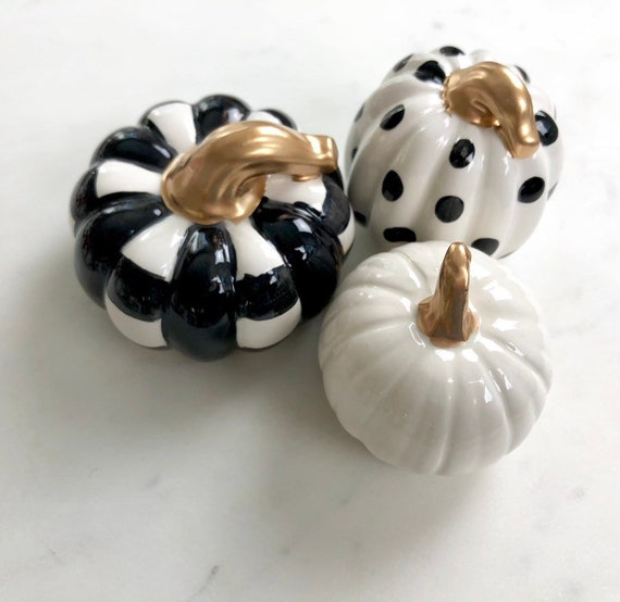 Hand painted, ceramic, black and white, painted pumpkin set, polka dot pumpkin, buffalo plaid pumpkin, plaid pumpkin, mini pumpkin