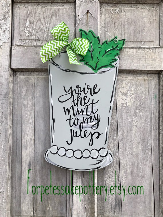 Mint julep, Derby Door Hanger, mint julep hanger, mint julep cup sign, derby sign, derby door hanger, personalized, mint julep cup
