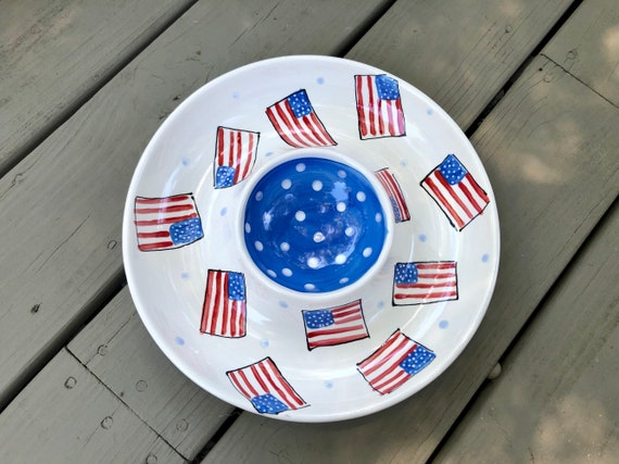 Fourth of July chip and dip, american flag chip and dip, handpainted chip and dip, usa pottery, 4th of july decor, 4th of July plate, USA