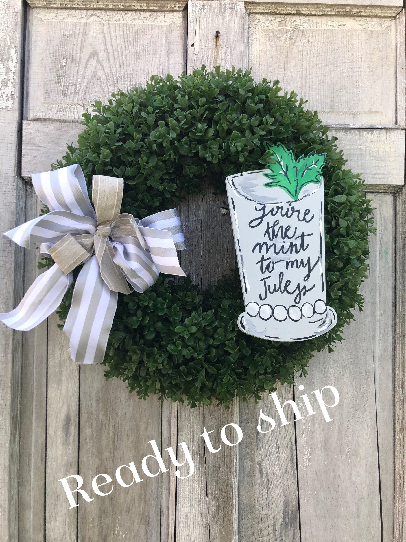 Ready To Ship Derby Wreath Jockey Door Hanger Derby Boxwood