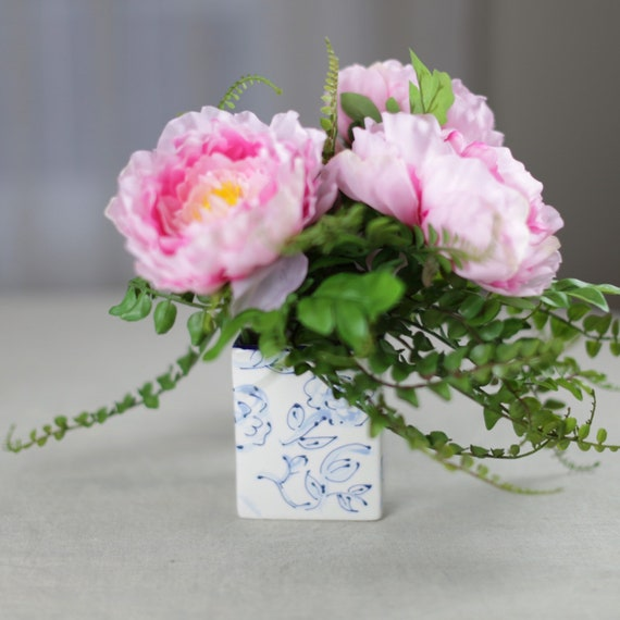 Hand painted, floral vase, chinoiserie style vase, ceramic, chinoiserie floral vase,  blue and white square vase, decorative vase