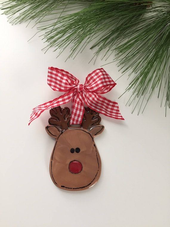 Reindeer ornament, personalized ceramic Christmas ornament, reindeer lovers ornament, reindeer ceramic ornament, reindeer Christmas ornament