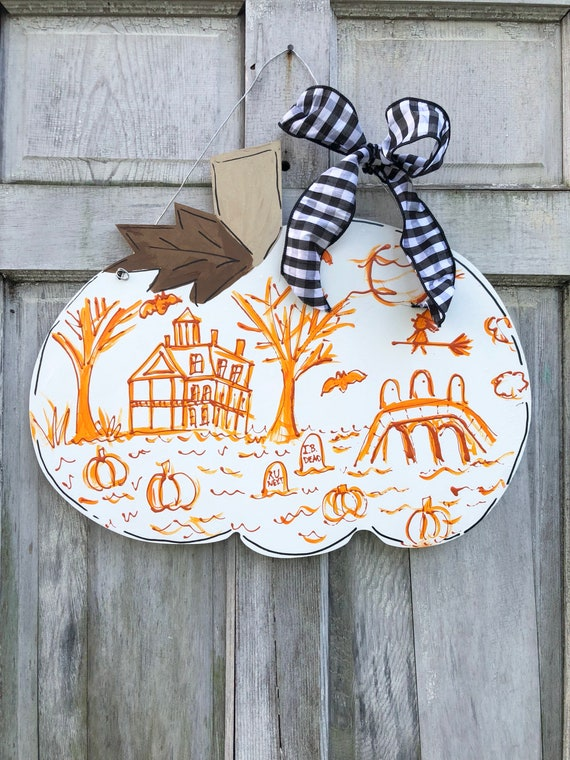 Chinoiserie, Halloween, Pumpkin, door hanger, chinoiserie door hanger, Halloween door hanger, pumpkin door hanger, pumpkin door sign