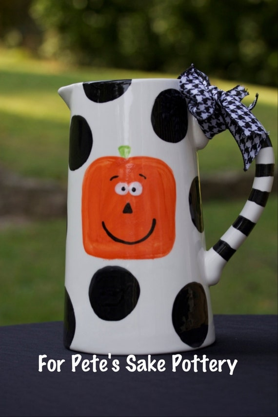 Halloween, pumpkin, hand painted ceramic pitcher, halloween pitcher, pumpkin pitcher, pumpkin pitcher, black & white halloween