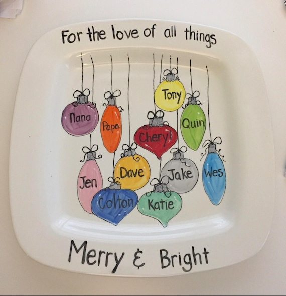 Hand painted, Personalized, Christmas Ornament platter, large Grandparents platter, large family platter, personalized family platter, seven