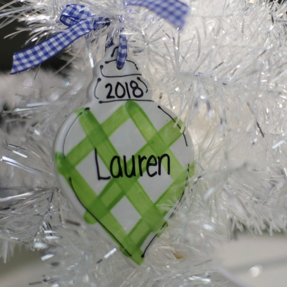 Preppy, gingam ornament, pink and green ornament, hand painted, personalized gift, pink and green holly ornament