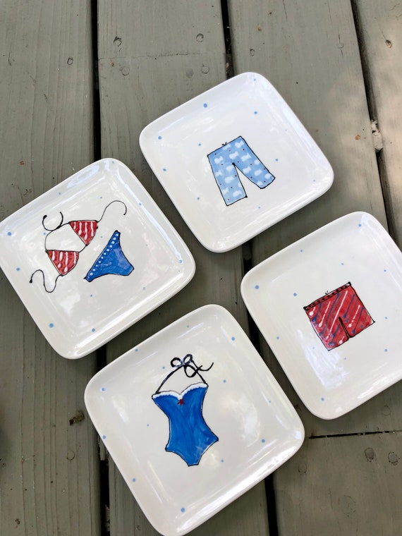 Set of 4 hand painted USA theme dessert plates, swimsuit plates, American plate, 4th of July dessert plate, July 4th appetizer plate,