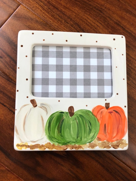 Fall pumpkin picture frame,  hand painted picture frame, pumpkin picture frame, white pumpkin
