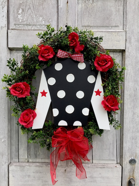 Kentucky derby wreath horse racing decor lover