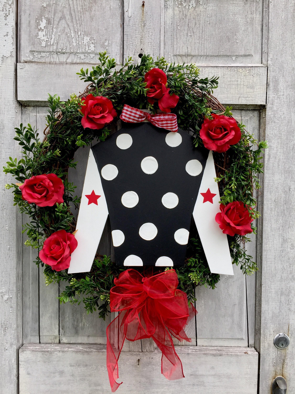 Kentucky Derby Wreath Horse Racing Decor Lover Jockey Silk Wood Boxwood Spring With