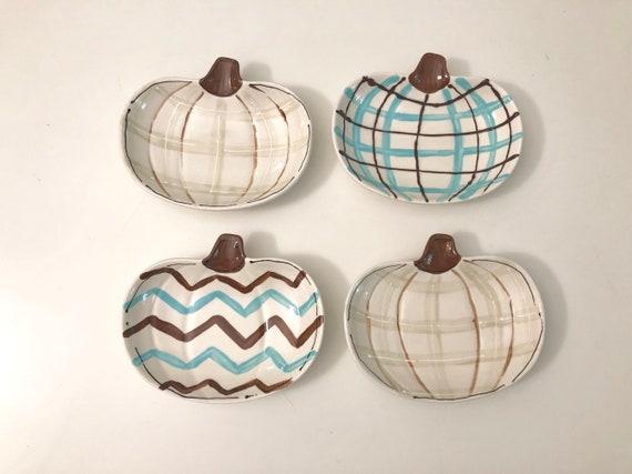 HGTV featured pumpkin dish, Hand painted, pumpkin dish,  Alternate pumpkin dish, halloween dish,