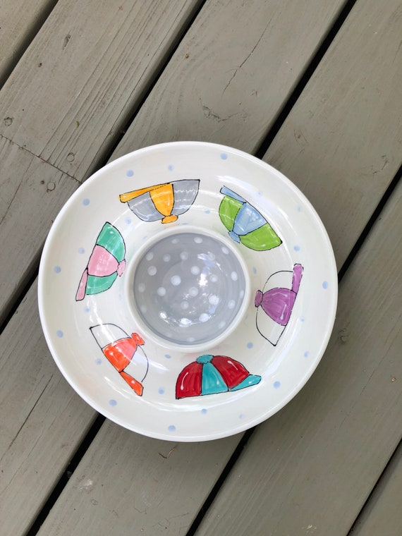 Derby chip and dip, horse shoe serving platter, custom chip and dip, hand painted chip snd dip, derby serving dish, horseshoe chip and dip