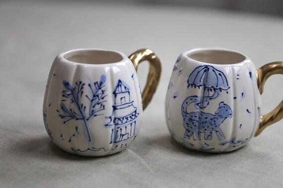 Chinoiserie pumpkin mug, chinoiserie mug, chinoiserie pumpkin, hand painted mug, choinoserie chic