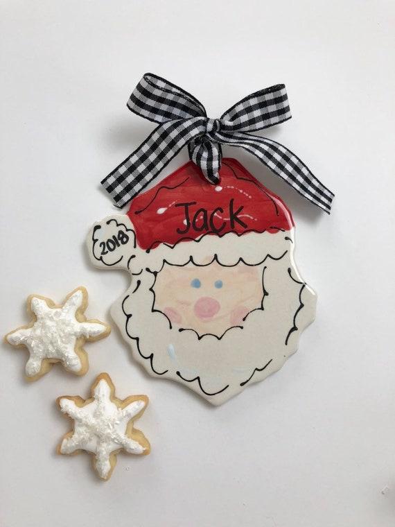 Hand painted santaface ornament, santa ornament, St Nick ornament, personalized Christmas ornament