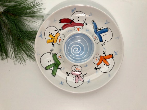 Snowman chip and dip serving platter, Christmas chip and dip, hand painted chip and dip, winter theme chip and dip, ceramic chip and dip