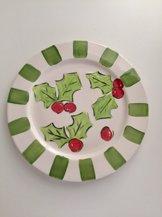 Holly pattern Christmas platter, hand painted Holiday platter, Holly leaves plate, Christmas plate, Painted Holly plate, Hand painted plate