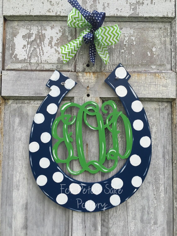 Genial Monogramed Horseshoe Door Hanger, Derby Door Hanger, Equestrian Door Hanger,  Monogrammed Barn Sign Or Wall Hanger