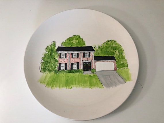Hand painted, personalized, illustrated Home plate, custom house plate, new home gift, realtor closing gift, round coupe plate