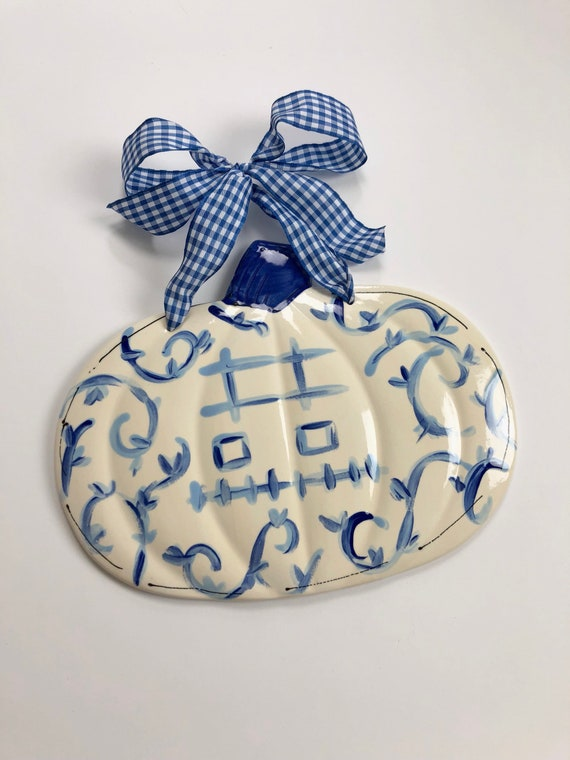 Chinoiserie pumpkin, chinoiserie pumpkin plaque, blue and white pumpkin plaque, gingham pumpkin, ceramic pumpkin