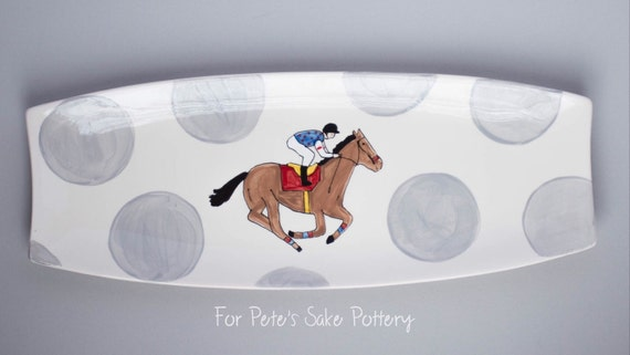KENTUCKY DERBY platter, Kentucky Derby party, Derby platter, Horse racing platter, Jockey Silk platter, KY pottery, Derby pottery