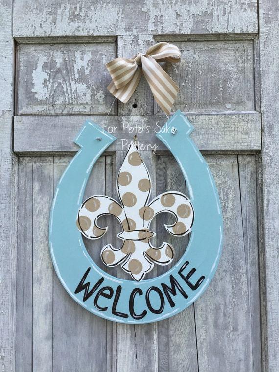 Superbe ... Fleur De Lis Door Hanger, Horseshoe Door Hanger, Horseshoe And Fleur De  Lis Door