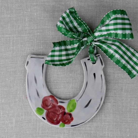 KENTUCKY DERBY ornament, Kentucky Derby gift, KY Derby party favor, Equestrian ornament, Horseshoe ornament, Run for the Roses, ornament