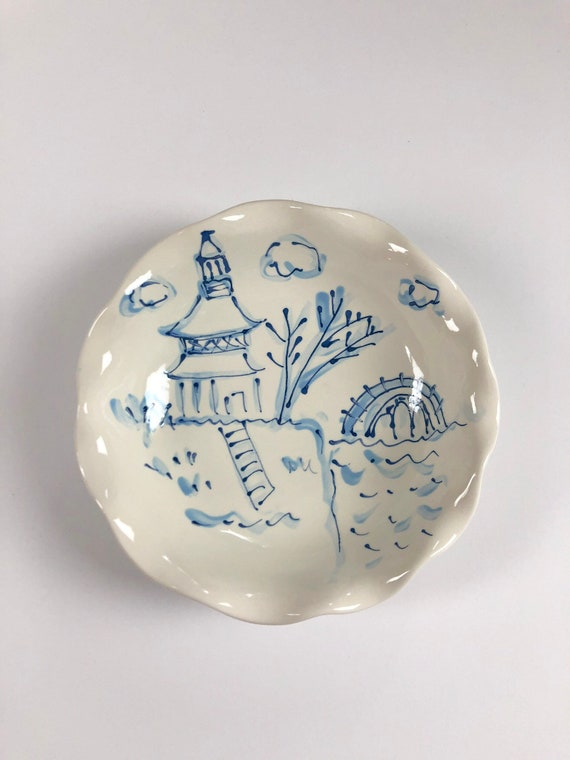 Chinoiserie, pagoda bowl, chinoiserie chic decor, chinoiserie bowl, topiary bowl, blue and white bowl, topiary, chinoiserie