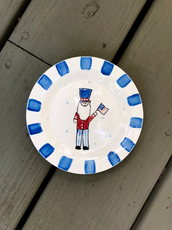 Patriotic dessert plate, Uncle Sam plate, USA plate, appetizer plate, 4th of July dessert plate, hostess gift, hand painted plate