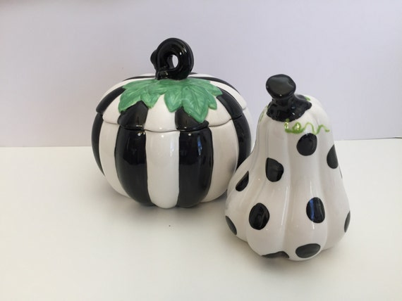 Hand painted, Halloween decor, Polka Dot Gourd, polka dot pumpkin, tabletop decor, halloween pumpkin, halloween, ceramic pumpkin