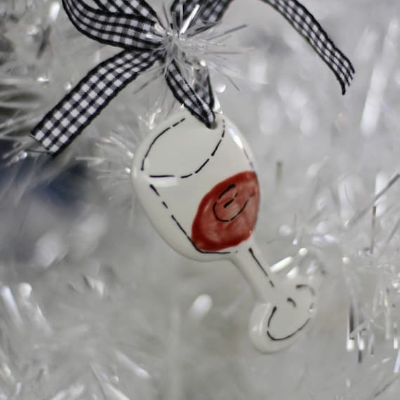 Hand painted, ceramic, wine glass ornament, Christmas cocktail ornament, personalized wine glass ornament, wine club, book club