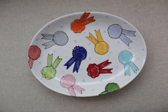 Kentucky Derby pottery, horse ribbons platter, Horse racing platter, Horse racing plate, Derby platter, Derby ribbons platter, KY Derby gift