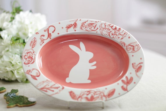 Easter serving dish, easter platter, hand painted bunny platter, easter plate, chinoiserie syle, easter rabbit, platter
