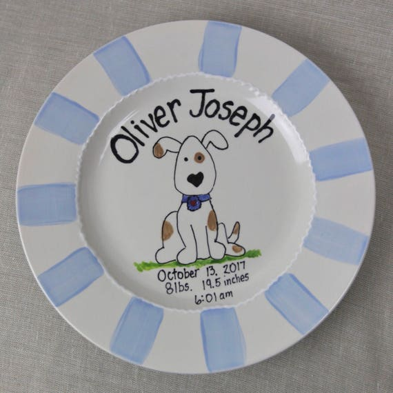 Personalized Baby Boy Birth plate, Baby girl plate, Baby boy plate, Birth announcement plate, Ceramic Birth plate, Hand painted child's pla