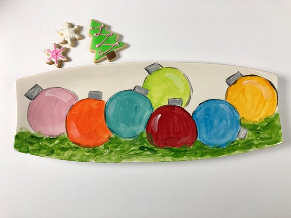 hand painted,  ball ornament platter, Christmas platter, Christmas ornament platter, hand painted holiday platter, for pete's sake platter,