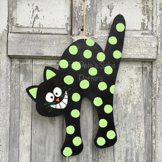 Black cat door hanger, Cat door hanger, Cat sign, Autumn door hanger,  Halloween door hanger, Fall Door hanger, Halloween decoration