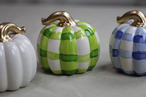 Medium, chunky gourd, buffalo plaid, ceramic pumpkin, chinoiserie pumpkin, blue gingham pumpkin, fall decor, ceramic pumpkin