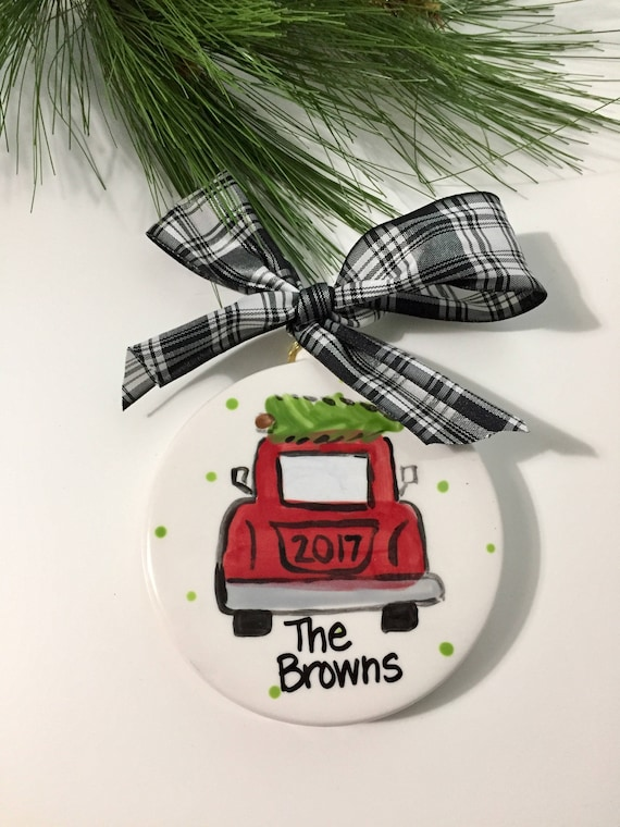 Hand painted Christmas ornament, Family ornament, friend ornament, personalized Christmas ornament, Our 1st Christmas ornament, 2017 ornamen
