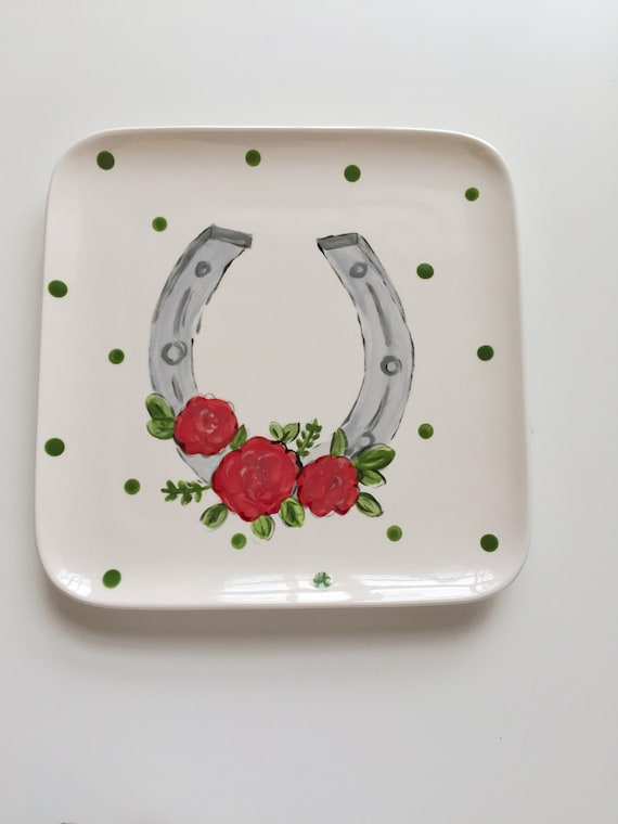 Kentucky Derby plate, Derby plate, equestrain plate, derby party plate, horse racing party, derby party, horseshoe plate, derby