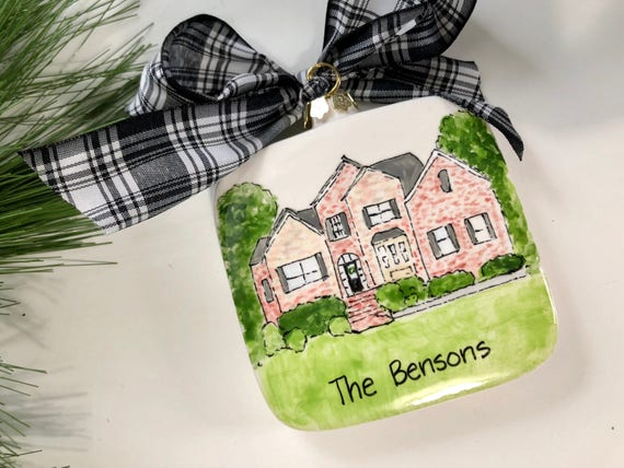 Illustrated Home Ornament, Illustrated house ornament, Custom, hand painted, Home, New Home gift, Family Heirloom gift,  Christmas ornament