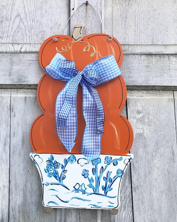 Pumpkin topiary,  chinoisorie Door hanger, pumpkin door hanger, stacked pumpkin topiary door hanger, pumpkin door hanger,