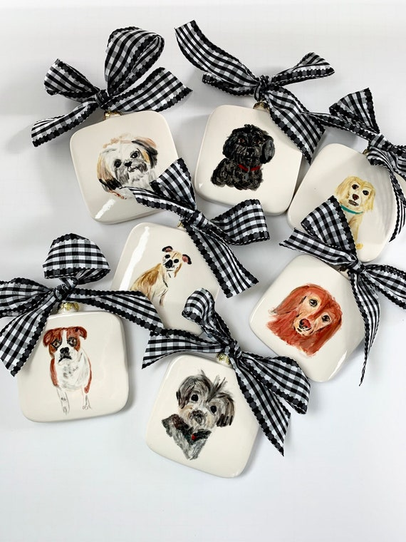 Illustrated Pet Ornament,  hand painted dog ornament, hand painted pet gift, Family pet ornament, Christmas dog ornament