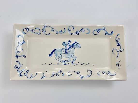 Blue and white Derby platter, chinoiserie horse platter, horse racing plate, derby party, chinoiserie style tray, blue racehorse