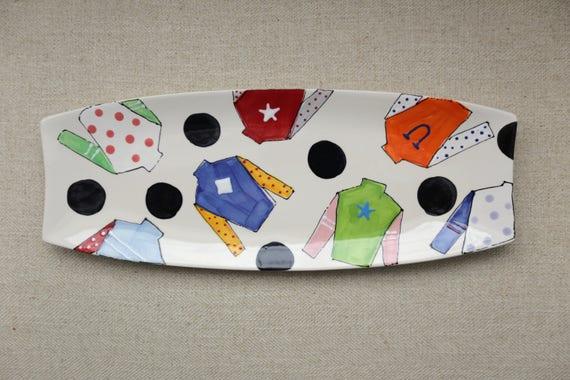 Jockey silk platter, Kentucky Derby party, hand painted derby platter, Horse racing platter, Derby plate, Derby party tableware