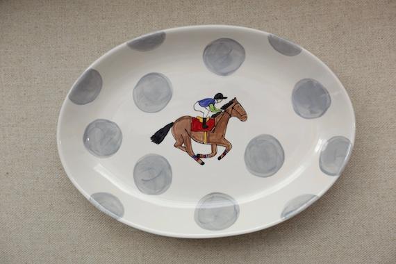 KY Derby oval serving platter, Derby theme dish, horse racing platter, Race Horse dish, Jockey plate, Derby plate, Derby platter
