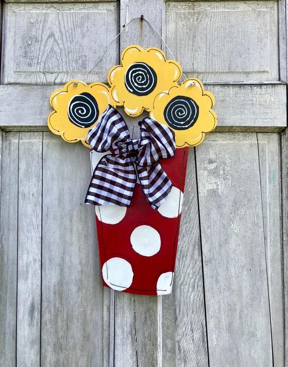 Flower pot door hanger, spring sign, summer sign, Summer door hanger, Flower pot wall decor, Spring flowers sign, door hanger