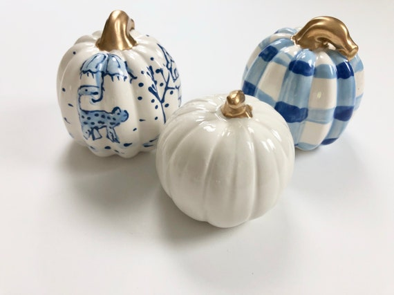 Hand painted, ceramic, chinoiserie pumpkin set, halloween chinoiserie pumpkin, buffalo plaid pumpkin, plaid pumpkin, mini pumpkin