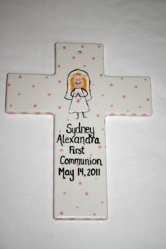 First Communion cross, Personalized ceramic cross, Child's ceramic cross, Custom personalized ceramic cross
